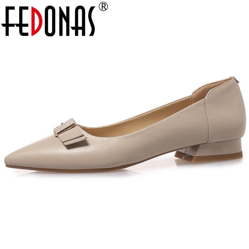 FEDONAS Nieuwe Collectie Vrouwen Echt Lederen Hoge Hakken Strik Party Bruiloft Schoenen Vrouw Slip Op Basic Pompen Elegante Schoenen-in Damespumps van Schoenen op  Groep 1