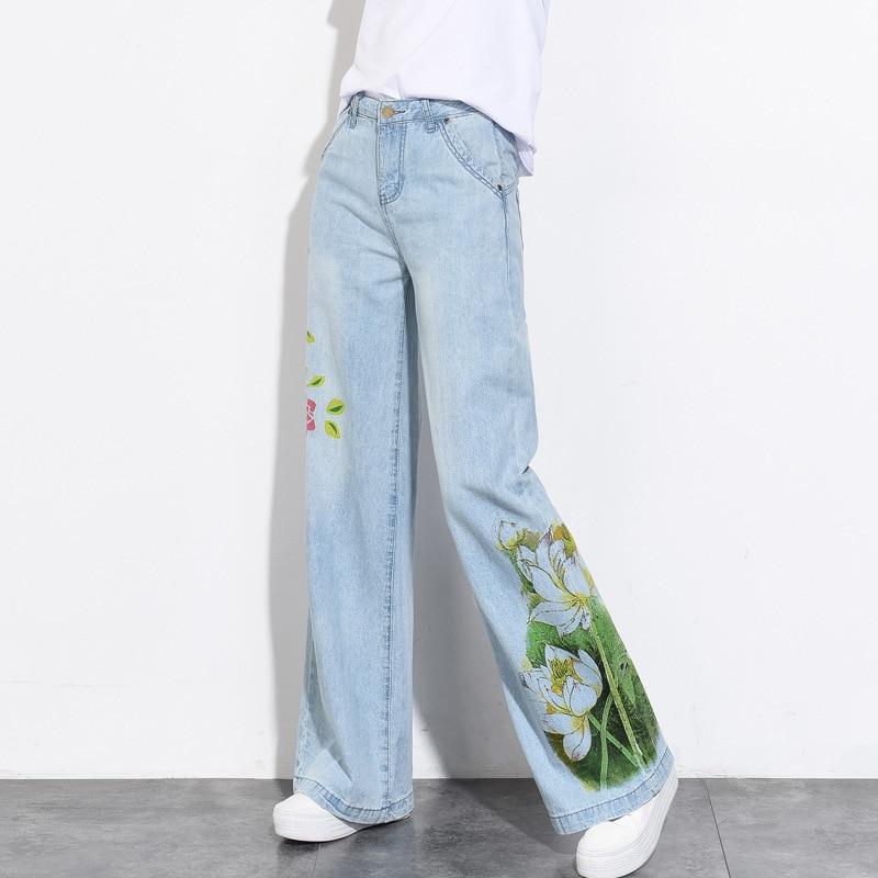Lxunyi 2019 Mujer Pierna Ancha Cintura Alta Flores Nuevo De Verano  Pantalones Rectos Denim Estampado Vintage Primavera Vaqueros 1Etrw1 be3eeee49ae