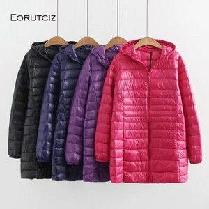 Image 2 - EORUTCIZ Winter Long Down Coat Women Plus Size 7XL Ultra Light Hoodie Jacket Vintage Warm Black Autumn Duck Down Coat LM143
