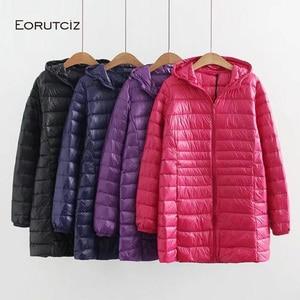 Image 2 - EORUTCIZ manteau Long en duvet de canard pour femme, grande taille 7XL Ultra léger, manteau à capuche Vintage noir chaud, automne LM143