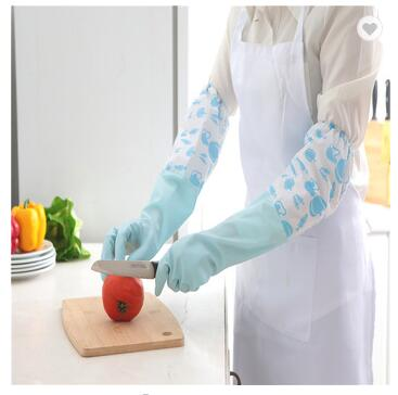 Kitchen Rubber Cleaning Gloves With Lining