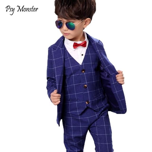 Brand Children Suit Baby Boys School Suits Kids Blazer Formal Dress Suit For Weddings Birthday Clothes Set Jackets Vest Pants