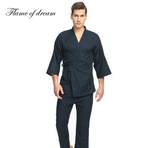 Image 5 - 100% algodão pijamas japoneses dos homens pijamas para homem hombre pijamas masculinos de algodão quimono 356