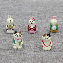 Japan Zakka Decole Cat Rabbit Miniature figurines statue Home Decoration Fairy Garden Resin craft toy Bonsai Ornaments(China)