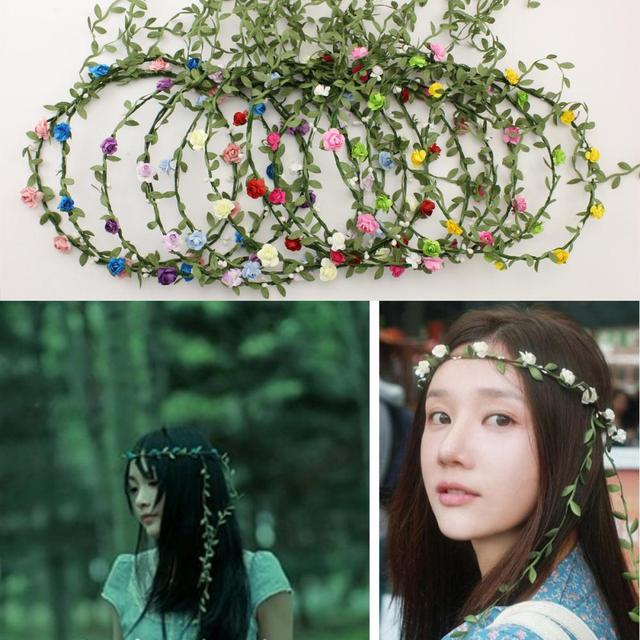 Wholesale boho headband flower crown headbands Bridal wreath 8 flowers  Wedding Garland hair accessories for women 100pcs lot-in Women s Hair  Accessories ... 1f9a5229ed91