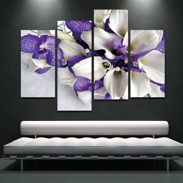 Wall Art Painting Pictures Print On Canvas Flower For Home Modern Decoration Bunch Of Flowers In White And Dark Purple