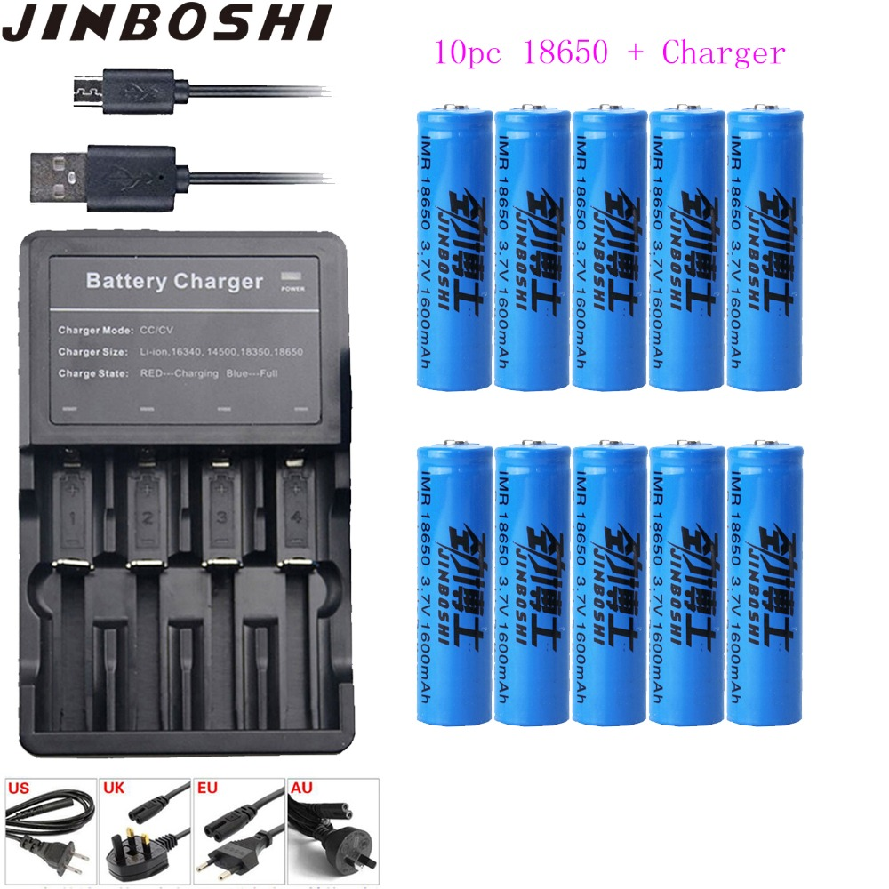 10 pcs/lots 18650 3.7 V 1600 mAh 18650 Lithium batterie Rechargeable + chargeur + câble USB pour lampe de poche batteries 18650 Batteries