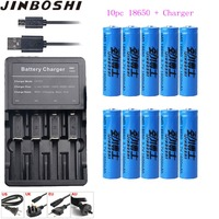 10pcs/lots 18650 3.7V 1600 mAh 18650 Lithium Rechargeable Battery + Charger + USB Cable For Flashlight batteries 18650 Batteries