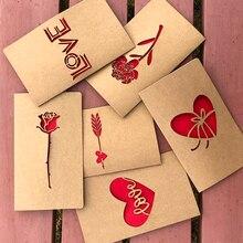 1 шт крафт-бумага день Святого Валентина полый конверт для поздравительной открытки любовь сердце роза День Благодарения День рождения открытка праздник благословение