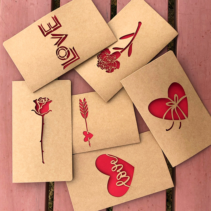 1pc Kraft Paper Valentine's Day Hollow Greeting Card Envelope Love Heart Rose Thanksgiving Birthday Card Holiday Blessing