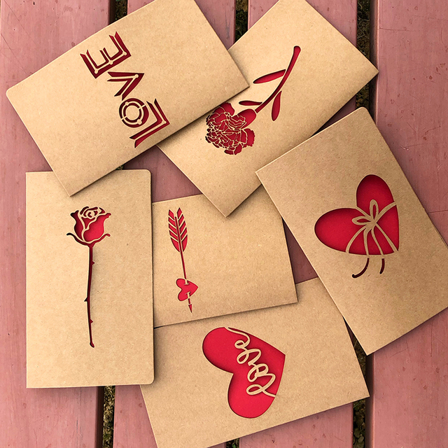 1pc Kraft Paper Valentine S Day Hollow Greeting Card Envelope Love