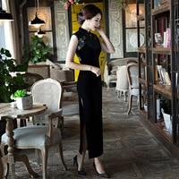 2018 Black Cheongsam Sexy Qipao Dress Long Traditional Chinese Dresses Vestido Oriental Robe Longue Chinoise Orientales Mujer