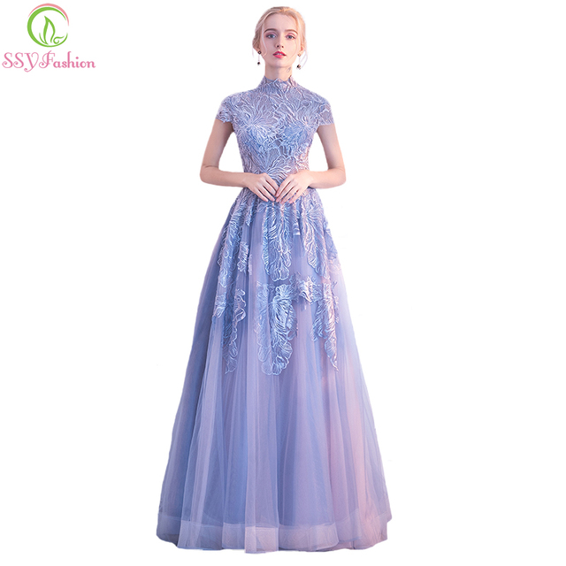 SSYFashion New Lace Evening Dress The Banquet Elegant High-neck Grey Blue  Lace Embroidery Long Party Gown Custom Formal Dresses 399319de0b72