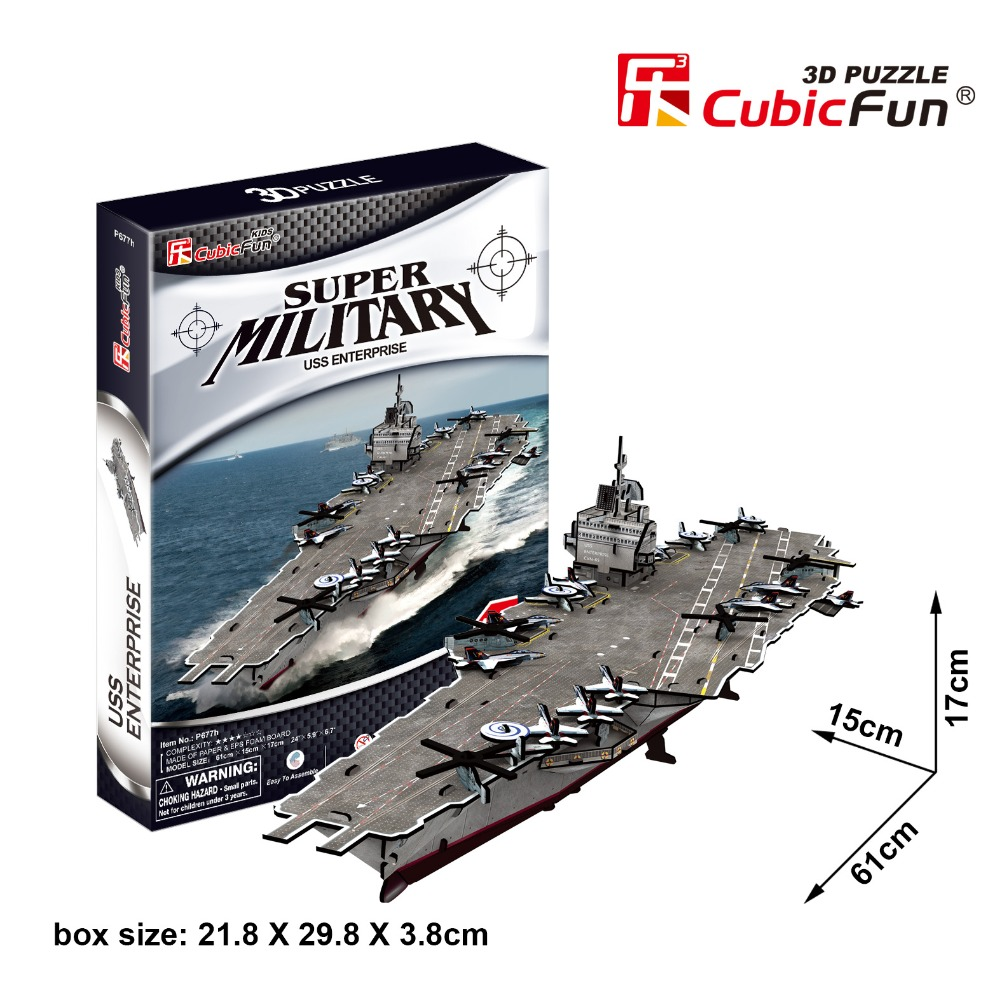 Cubicfun 3D paper building model DIY puzzle toy gift assemble game super military USS enterprise USA Aircraft carrier ship boat ds381b wooden 3d army puzzle toy model anti air vehicles diy assemble toys boys free shipping usa brazil