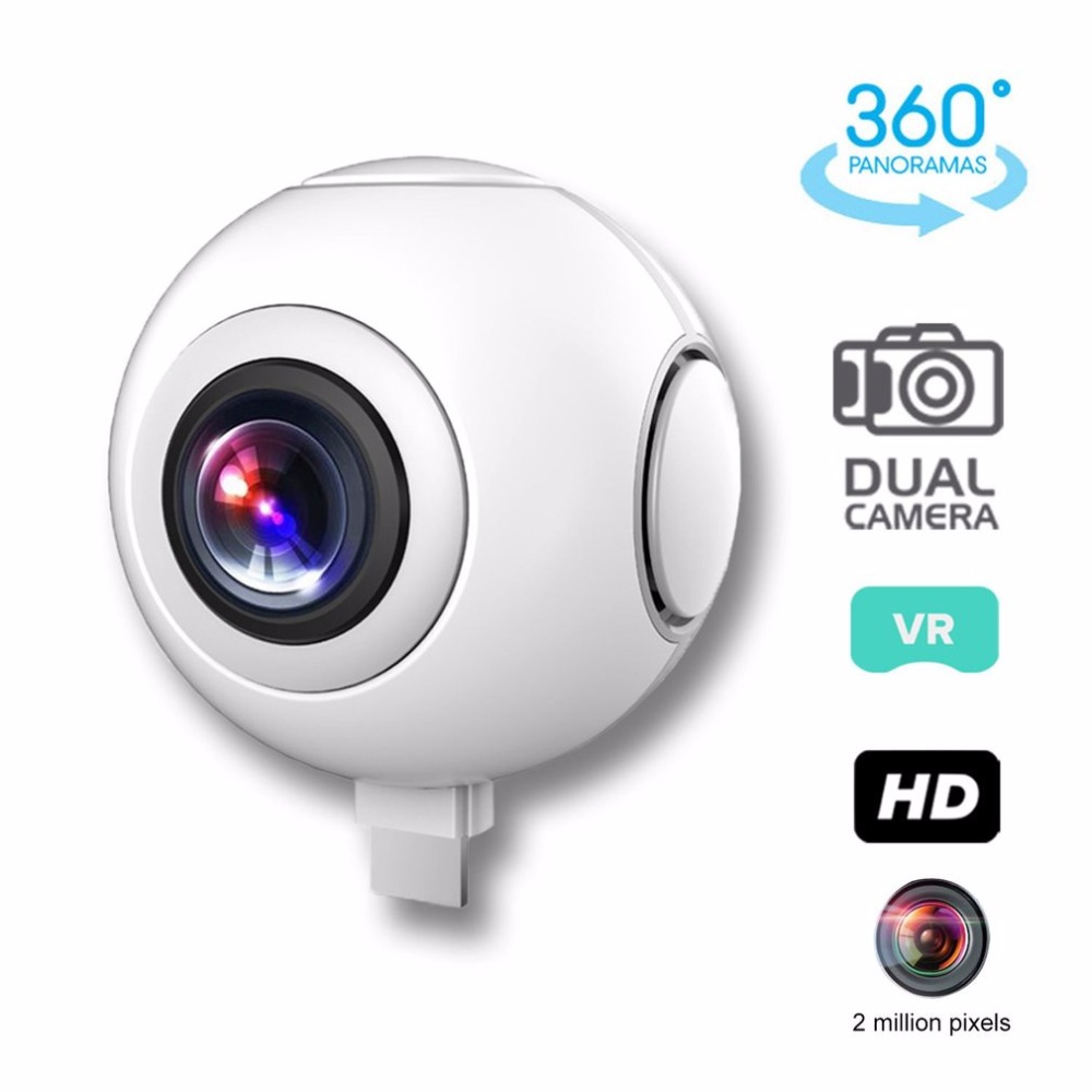 T-750 720 degree Panoramic Camera HD Dual Wide Lens Video Camera for Android Wireless VR Action Sports Outdoor Activities Camera 720 360 degree panoramic camera vr camera hd video dual wide angle lens real time seamless stitching for android smartphone