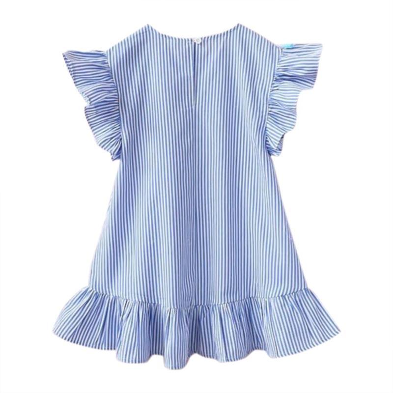 Summer Girls Tassel Flying Sleeve Dresses Stripe Cute Kids Party for girls Princess Dress Tops Clothes