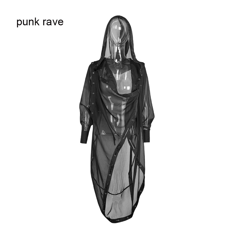 Punk Rave Black Casual Long Coat Jacket Cape Hoodie Gothic Fashion Cloak PY187 Free Shipping