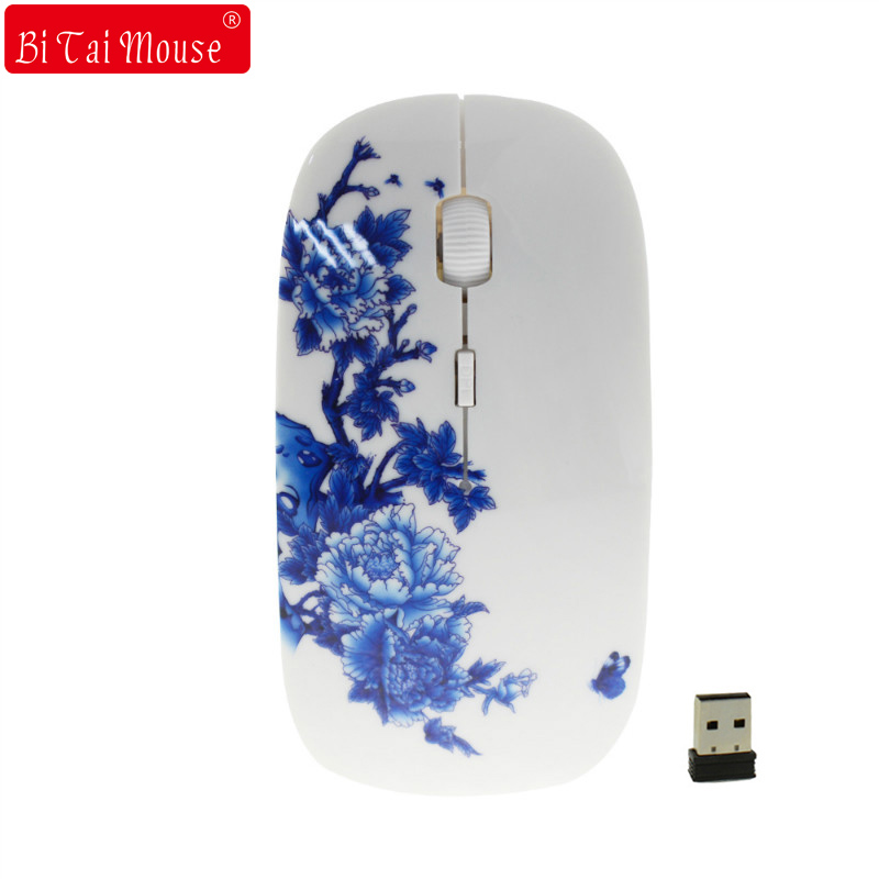 2.4Ghz Chinese Blue And White Porcelain Wireless Mouse Optical Mice 1200 DPI Wireless Mouse For Computer PC
