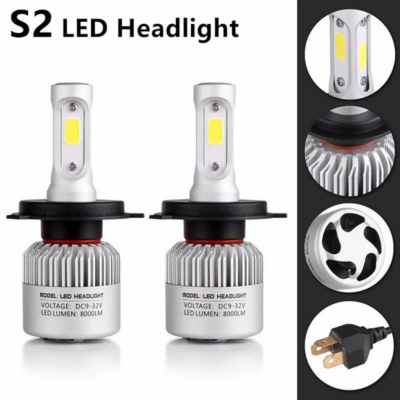castaleca Headlamp S2 H4 H7 H13 H11 9005 9006 Auto Car COB LED 72W 8000LM 12V Hight Power Headlight Bulb Fog Light yika cob led car headlight h4 h7 9005 h11 auto bulb headlamp 6500k light for car styling