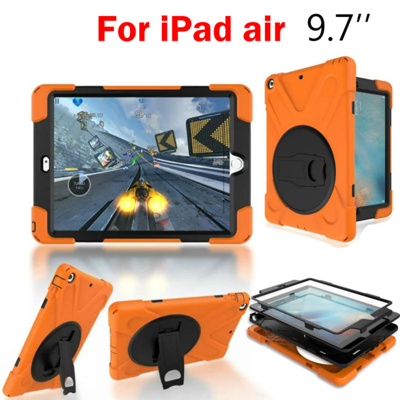 For iPad air Heavy Duty 9.7'' Tablet Case Fundas Shockproof Armor Hydrid Case Back Cover for iPad Air 360 Protective Shell Stand shockproof case for ipad pro 10 5 military duty armor kickstand pc silicone stand cover case for apple ipad pro 10 5 inch tablet
