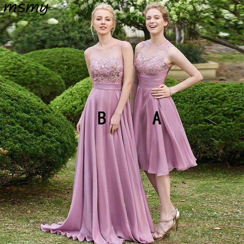 Hot Sell Dusty Rose Bridesmaid Dresses Long Chiffon A-Line Sleeveless Keyhole Backless Lace Top Short Wedding