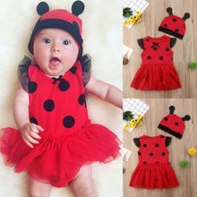 New Style Ladybug Infant Baby Girl Red Romper Dress Polka Tutu Sunress+Hat Xmas Halloween Party Nebworn Toddler Child Outfit Set