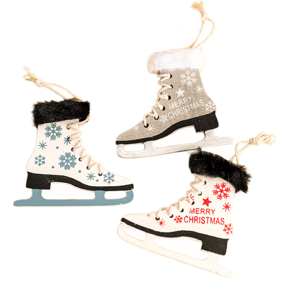 Diamond Well-Educated Snowflake Pattern Wooden Sleds Boots Christmas Xmas Tree Hanging Pendant Terrific Value
