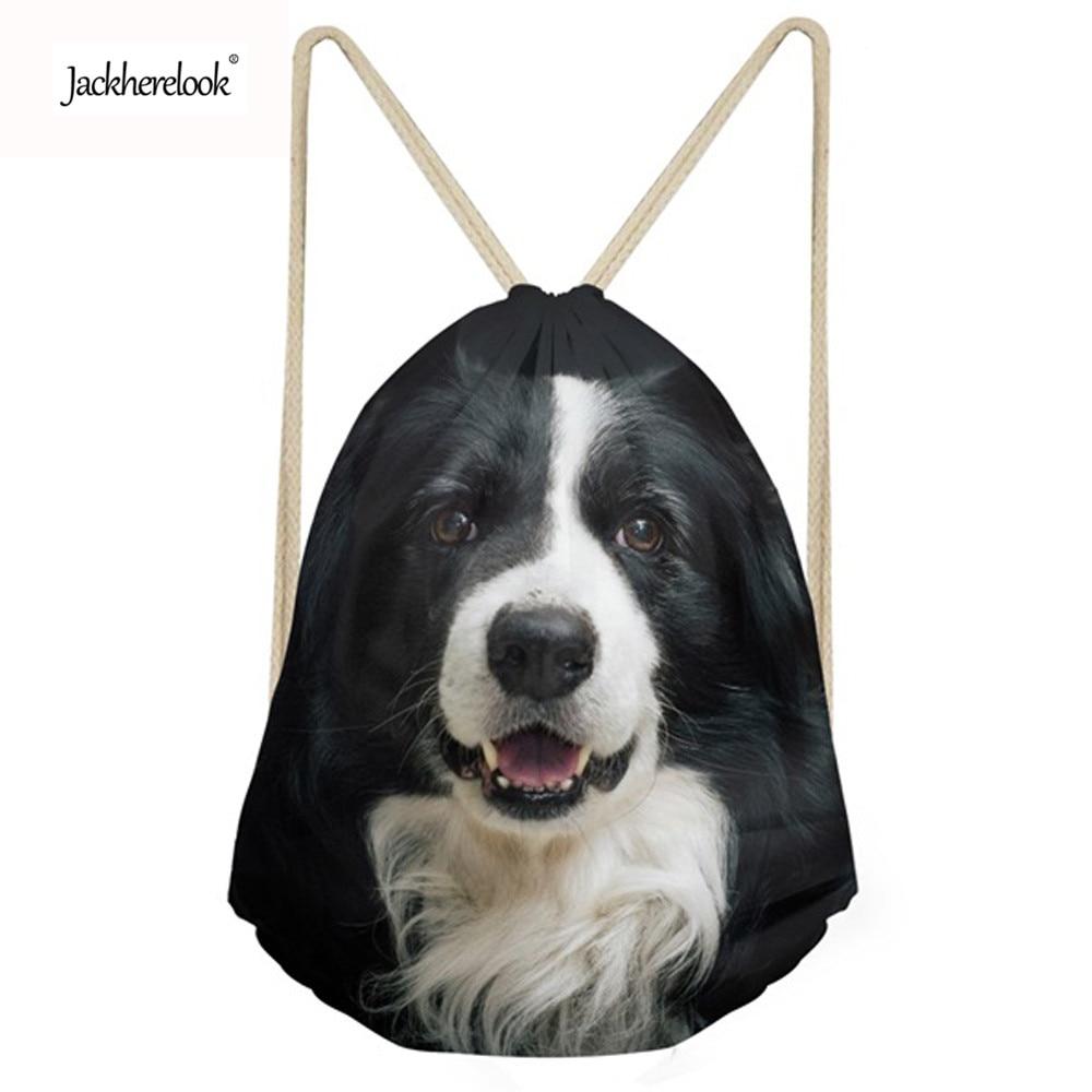 Jackherelook Women Dog Border Collie Pattern Drawstring Backpack Travel Softback Mochila Cute Fashion Drawstring Bag for