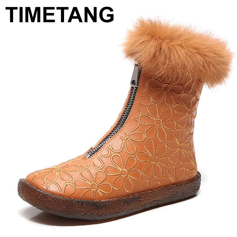 TIMETANG Winter Women Boots Genuine Leather Fashion Warm Zip Mid-Calf Boots Woman Rome Style Flat With Soft Non-Slip C322 stylish women s mid calf boots with solid color and fringe design
