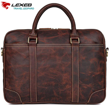 ФОТО LEXEB Full Grain Leather Briefcases Men Business 15 Inches Laptop Briefcase Slim Office Work Tote Bag In Chocolate