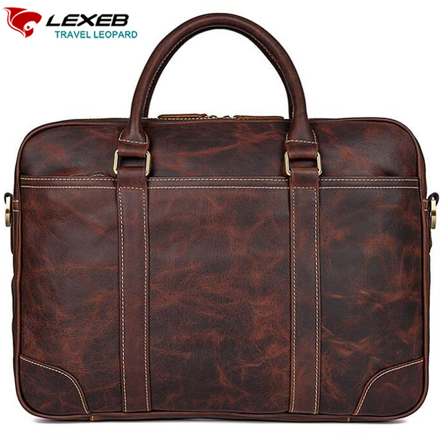 bcfec85768d2 LEXEB Full Grain Leather Briefcases Men Business 15 Inches Laptop Briefcase  Slim Office Work Tote Bag In Chocolate