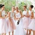 Chegada nova Moda Lace Branco Rosa Curto Da Dama de Honra Vestidos para Casamentos Meninas Baratos Prom Dress Vestido De Festa