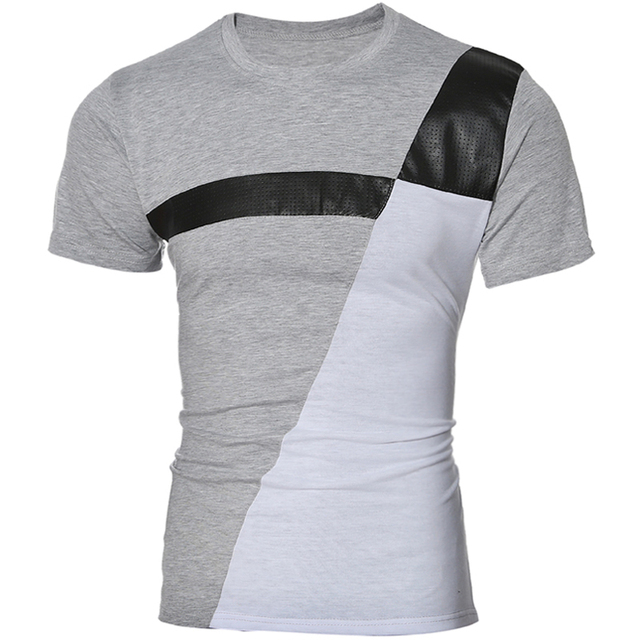 Camiseta Hombre 2018 manga corta cuello redondo de costura slim ...