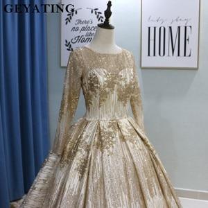Image 4 - נוצץ זהב פאייטים נסיכת כדור שמלת חתונת שמלות 2020 דובאי ארוך שרוול מחוך ערבית חתונה שמלה עם 3M רעלות