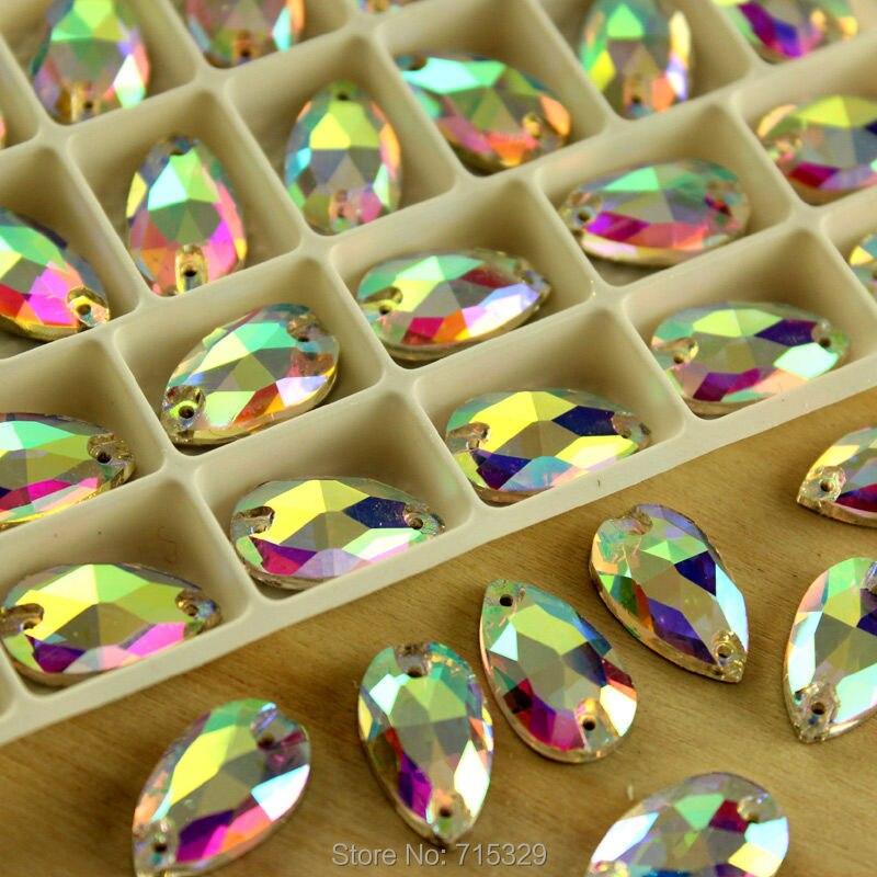 Teardrop Shape Sew On Glass Clear 2 Holes Crystal Rhinestone Silver Flatback