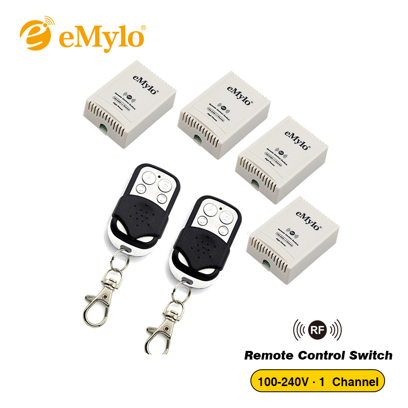 eMylo AC 100-240V 2500W Smart Wireless Switch, Remote Control Light Switch 2X Black&White Color Transmitter 4X 1 Channel Relay new design y a4e 1000wx4 4 channel rf remote control wireless switch white 200 240v