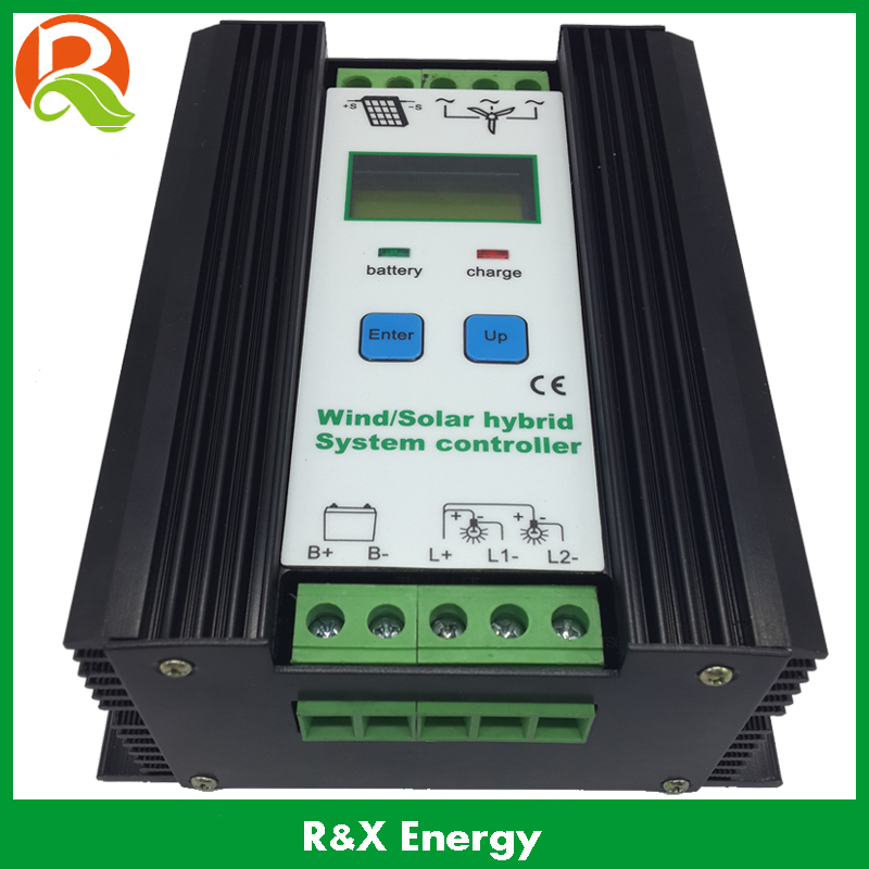 600W PWM unloading wind solar hybrid controller with LCD display, use for max 600w wind and 300w solar, 12V/24V auto distinguish 600w wind solar hybrid controller mppt charging mode 12v 24v auto distinguish off grid battery controller
