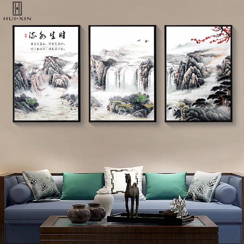 Traditional Chinese Mountains Rivers Painting Style Waterfalls Cliff Decorative Canvas Posters For Home Sofa Background Decor