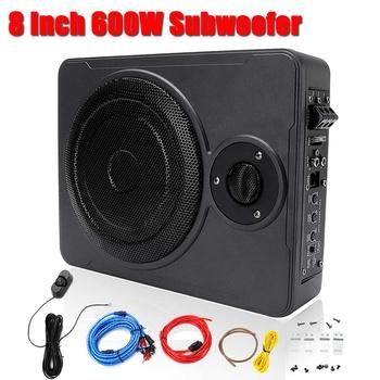8 Cal 600W pod siedzeniem samochodowy sprzęt Audio subwoofery subwoofer stereo samochodowy sprzęt Audio Auto głośniki Audio aktywny subwoofer redukcja szumów Box tanie i dobre opinie Audew Car Audio Subwoofer 8 Inch 4 ohm 12 v Stainless Steel 4785 60g Zamknięta systemy subwoofer Black