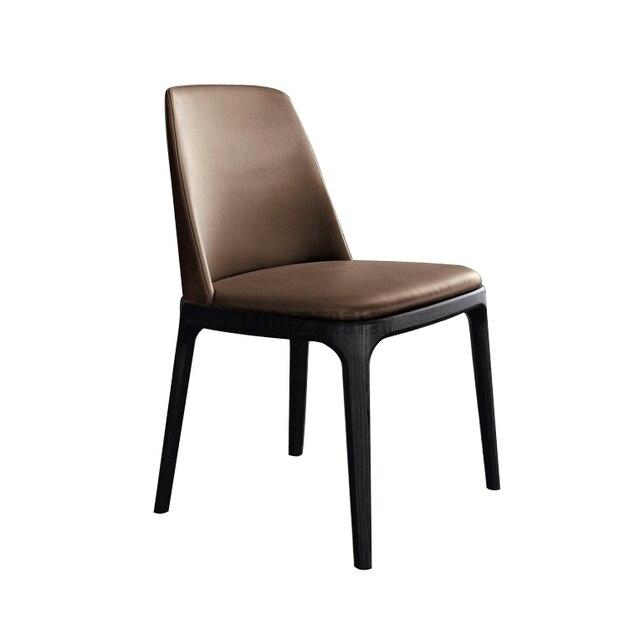 Nordic Wood Backrest Stylish Leather Chairs Restaurant Club Hotel Lounge  Chair Custom GAMPDINZ