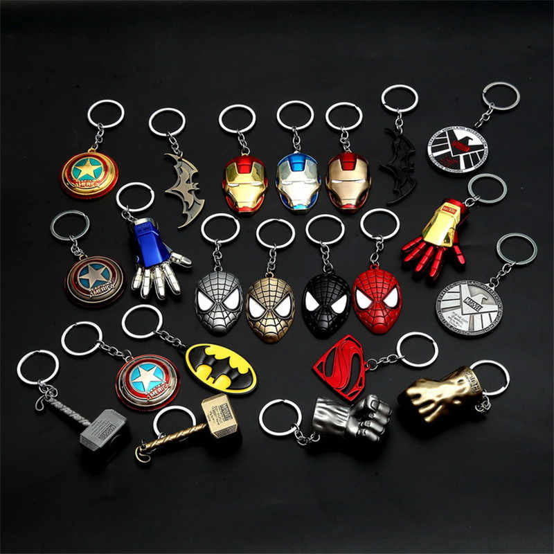 โลหะ Marvel Avengers Captain America Shield Keychain Spider man Iron man Mask Keychain ของเล่น Hulk Batman Action Figure คอสเพลย์