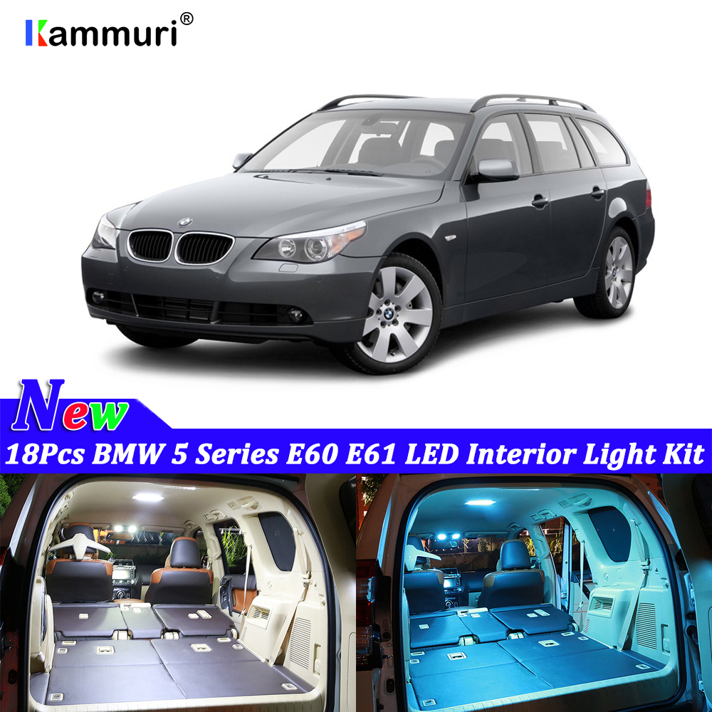 18pcs White Canbus <font><b>led</b></font> Car <font><b>interior</b></font> lights Package Kit for <font><b>BMW</b></font> 5 series <font><b>E60</b></font> E61 1999 - 2002 2003 2004 2005 2006 <font><b>LED</b></font> <font><b>interior</b></font> lig image