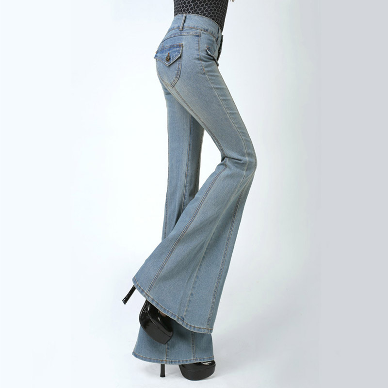 2017 Spring Middle Waist Washed Jeans For Women Light Blue Color Slim Demin Long Trousers Large Size Flare Pants
