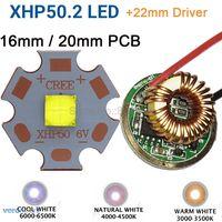 Cree XHP50.2 Gen2 6 V холодный белый нейтральный белый теплый белый высокой Мощность светодиодный излучатель + 22 мм 1 режим или 3 режима или 5 режимов