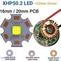 Cree XHP50.2 Gen2 6 v Bianco Freddo Bianco Neutro Bianco Caldo di Alto Potere LED Emettitore + 22mm 1 Modalità o Modalità di 3 o 5 Modalità Driver