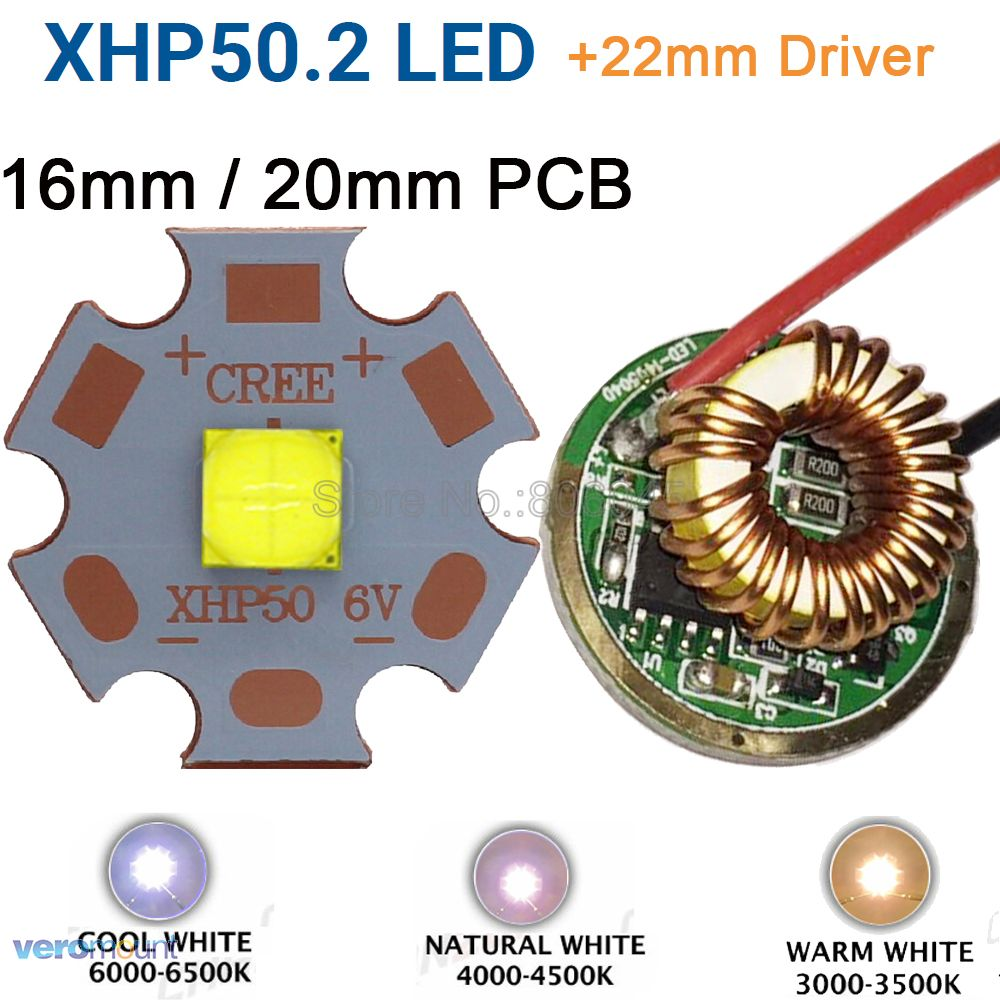 Cree XHP50.2 Gen2 6 v Cool White Neutral White Warm White High Power LED Emitter + 22mm 1 Modo ou Modos de 3 ou 5 Modos De Motorista