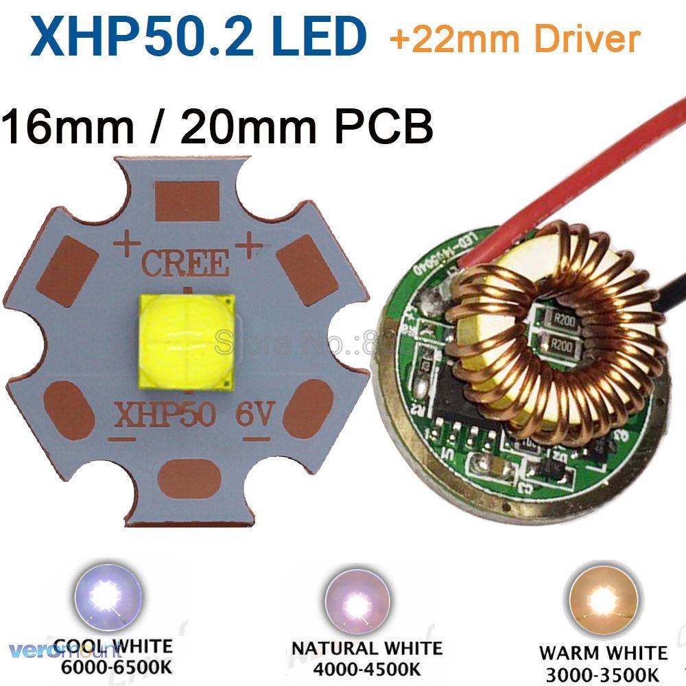 Cree xhp50.2 gen2 6 v branco fresco neutro branco quente alta potência led emissor + 22mm 1 modo ou 3 modos ou 5 modos de motorista