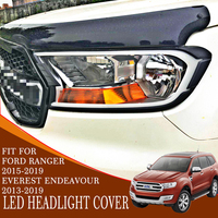 head light cover with LED 2pc ABS plastic car accessories front lamp cover for ford everest endeavour ranger 2015 2019