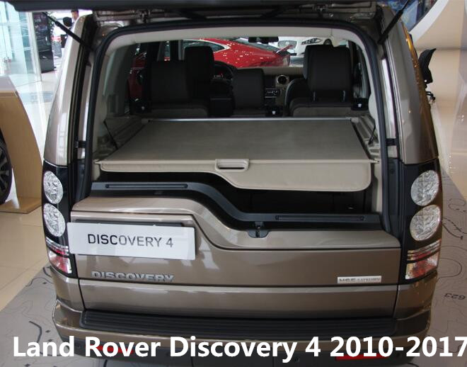 Car Rear Trunk Security Shield Shade Cargo Cover For Land Rover Discovery 4 LR4 2010 2011 2012 2013 2014 2015 2016 (Black beige) car rear trunk security shield cargo cover for volvo xc60 2009 2010 2011 2012 2013 2014 2015 2016 high qualit auto accessories