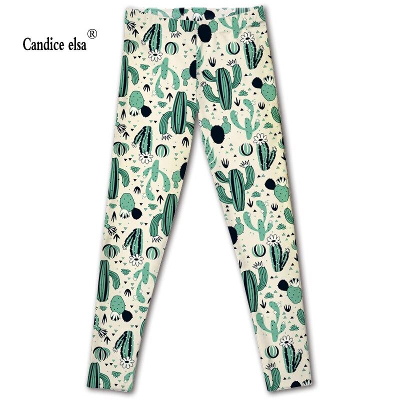 CANDICE ELSA leggings women elastic sexy fitness legging cactus print workout female pants plus size wholesale drop shipping